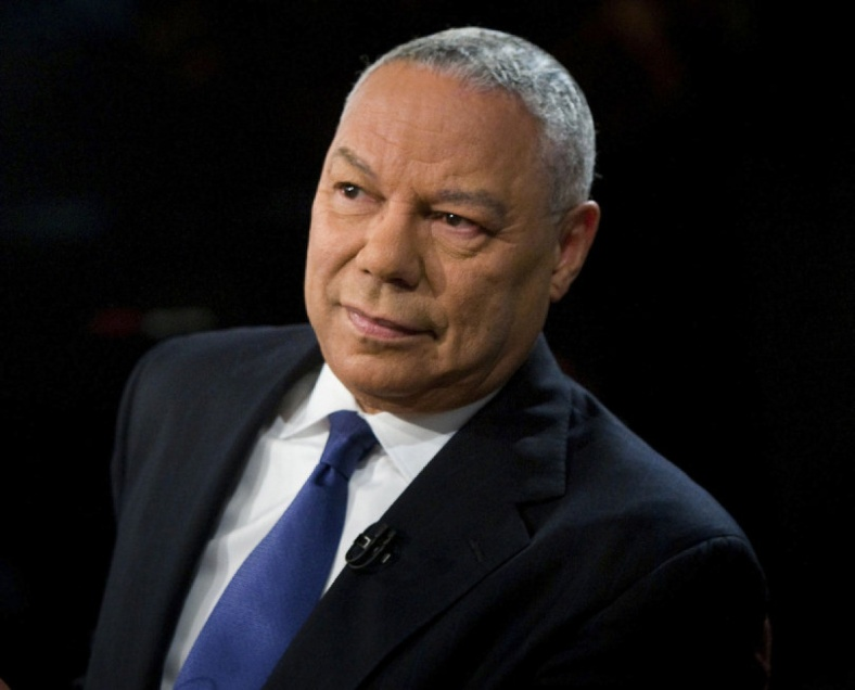 """Former Secretary of State Colin Powell speaks during a taping of """"Meet the Press"""" at NBC in Washington"""